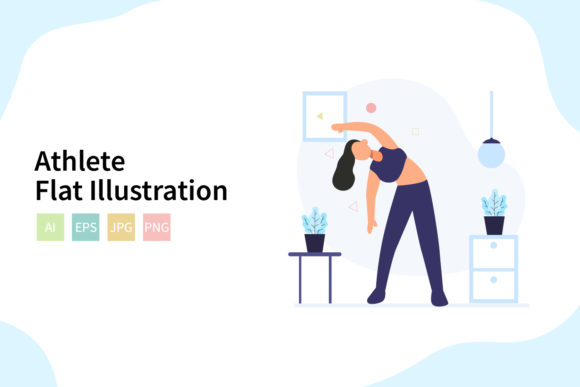 Download Free Athlete Flat Vector Illustration Graphic By Sixtwenty Studio for Cricut Explore, Silhouette and other cutting machines.