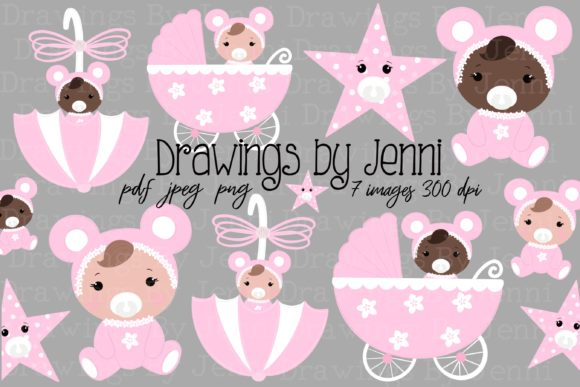Baby Girl Illustrations Set Graphic Illustrations By DrawingsbyJenni
