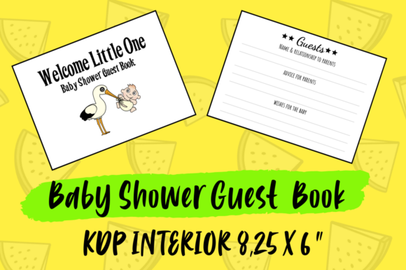 Print on Demand: Baby Shower Guest Book | KDP Interior Graphic KDP Interiors By Hungry Puppy Studio
