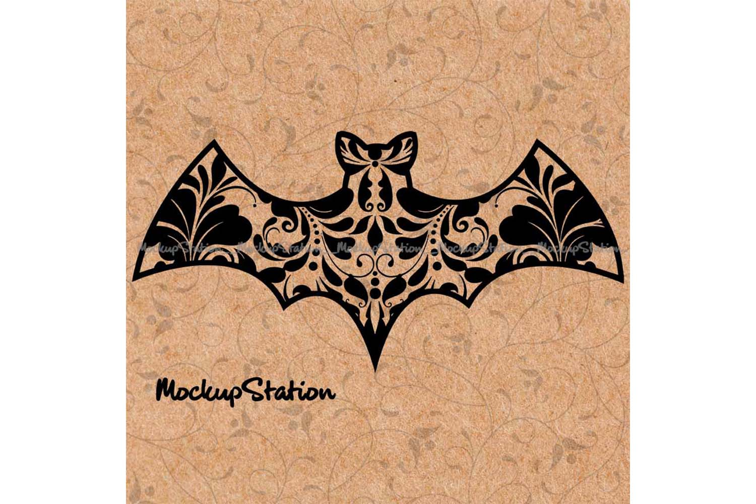 Download Free Bat Floral Lace Halloween Mandala Graphic By Mockup Station for Cricut Explore, Silhouette and other cutting machines.