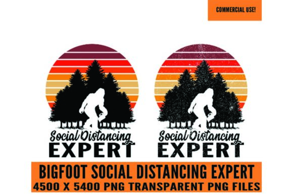 Print on Demand: Bigfoot Social Distancing Expert Clipart Graphic Logos By SunandMoon - Image 1