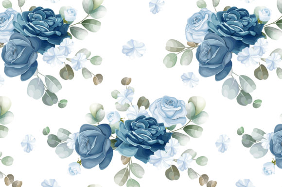 Blue Floral and Leaves Seamless Pattern Graphic Patterns By dinomikael01