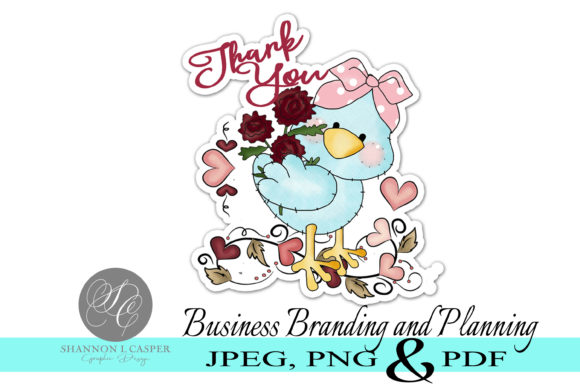 Print on Demand: BlueBird Print and Cut Thank You Sticker Graphic Illustrations By Shannon Casper
