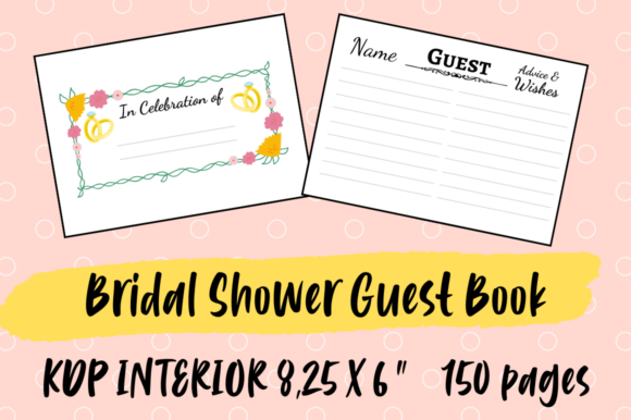 Print on Demand: Bridal Shower Guest Book | KDP Interior Graphic KDP Interiors By Hungry Puppy Studio