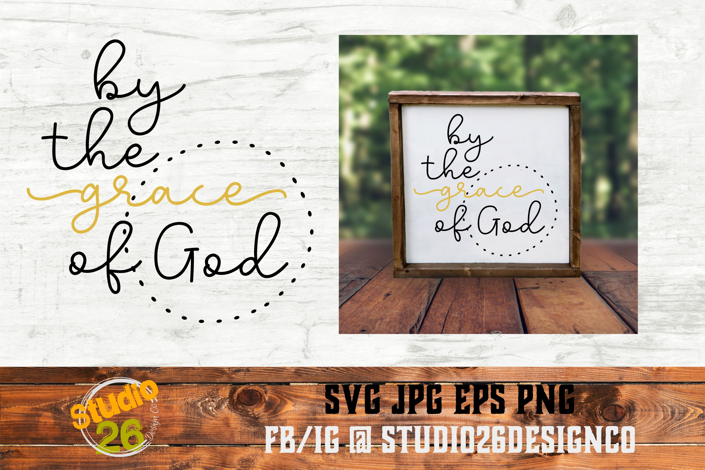 Download Free By The Grace Of God Graphic By Studio 26 Design Co Creative for Cricut Explore, Silhouette and other cutting machines.