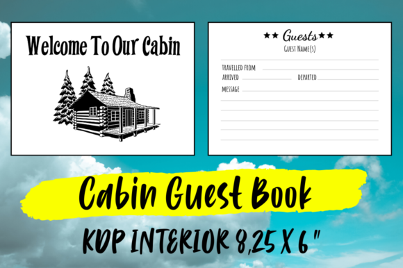 Print on Demand: Cabin Guest Book | KDP Interior Graphic KDP Interiors By Hungry Puppy Studio