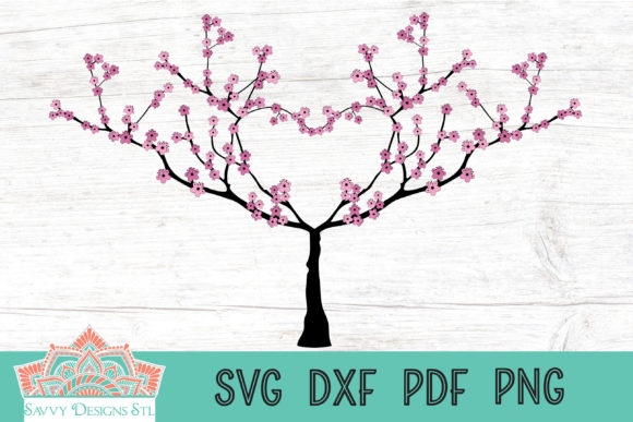 Download Free Cherry Blossom Heart Tree Cut File Graphic By Savvydesignsstl for Cricut Explore, Silhouette and other cutting machines.