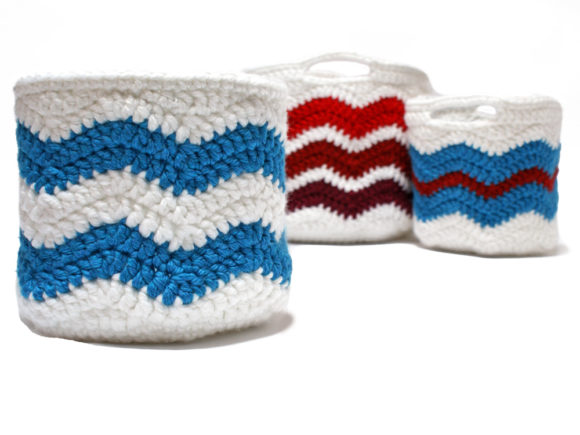 Download Free Chevron Storage Baskets Crochet Pattern Graphic By Knit And for Cricut Explore, Silhouette and other cutting machines.