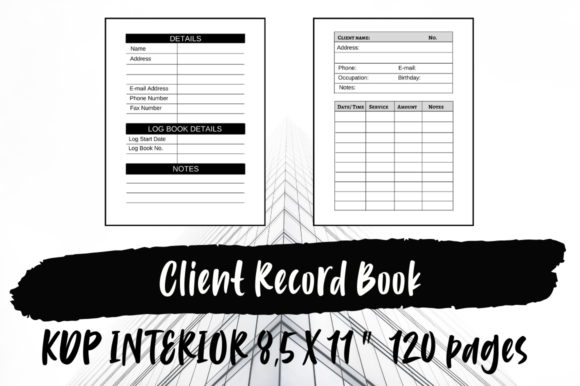 Print on Demand: Client Record Book | KDP Interior Graphic KDP Interiors By Hungry Puppy Studio