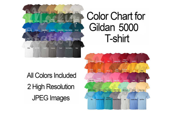 Print on Demand: Color Chart for Gildan 5000 T-shirt Graphic Product Mockups By Mockup Station