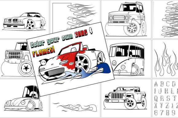 Print on Demand: Color Your Own Cars & Flames Graphic Coloring Pages & Books Kids By jeffbensch