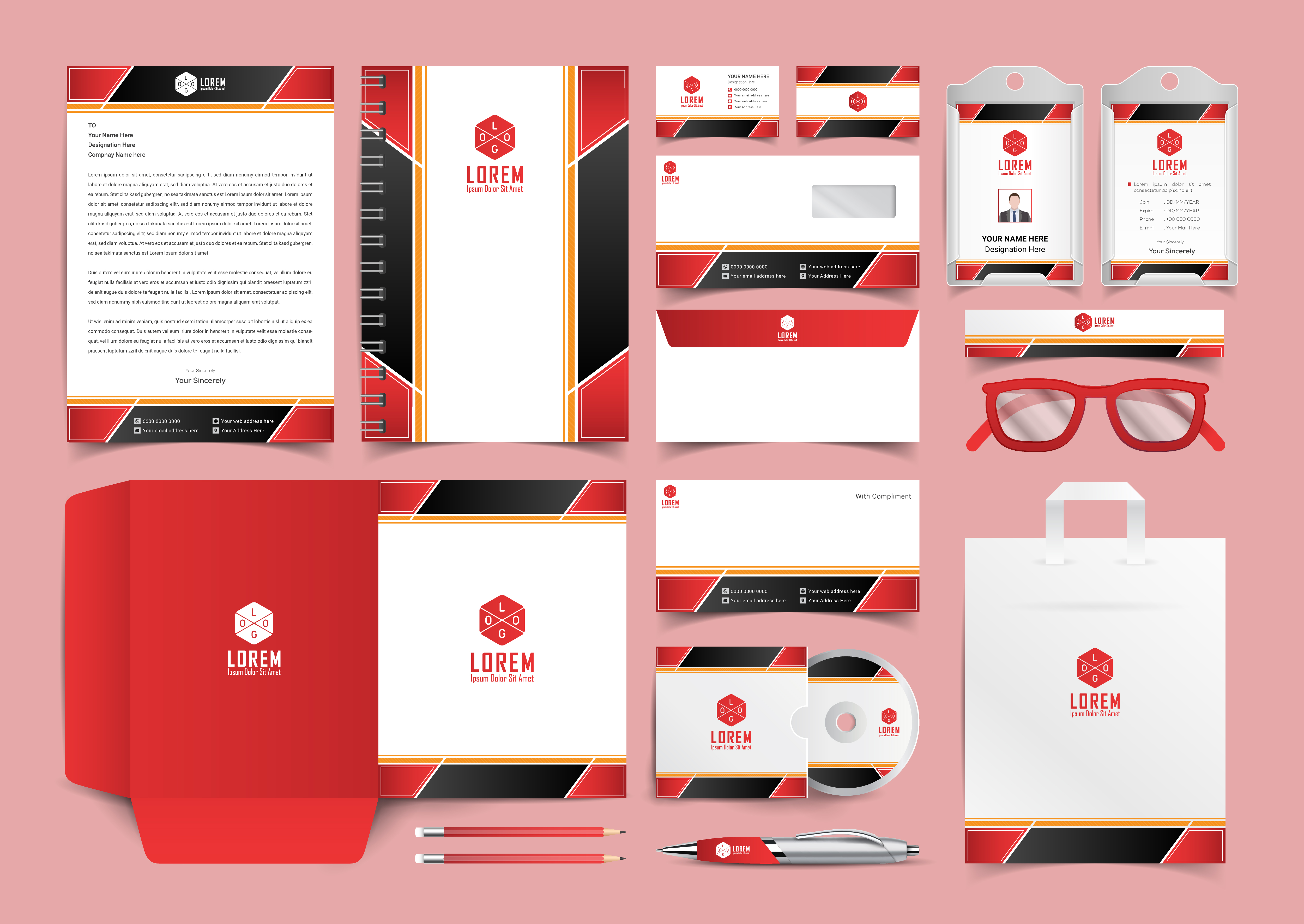 Download Free Corporate Stationery Template Design Graphic By Ju Design for Cricut Explore, Silhouette and other cutting machines.