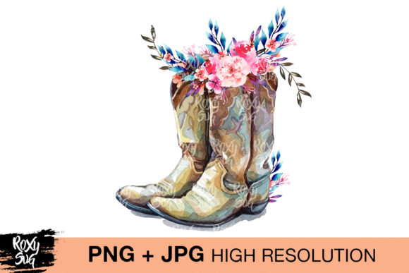 Download Free 2 Cowgirl Boots Sublimation Design Designs Graphics for Cricut Explore, Silhouette and other cutting machines.