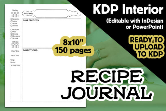 Customizable Recipe Journal KDP Interior Graphic KDP Interiors By Laura Burke