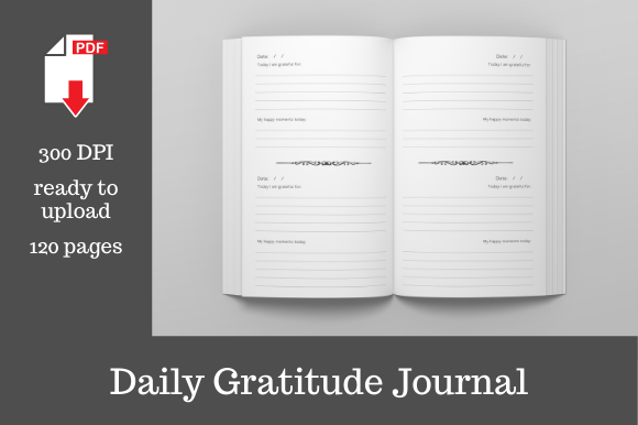 Print on Demand: Daily Gratitude Journal | 6x9 Inches Graphic KDP Interiors By KDP Template Designs