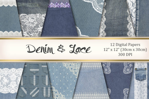 Denim and Lace Graphic Textures By Tara Artisan