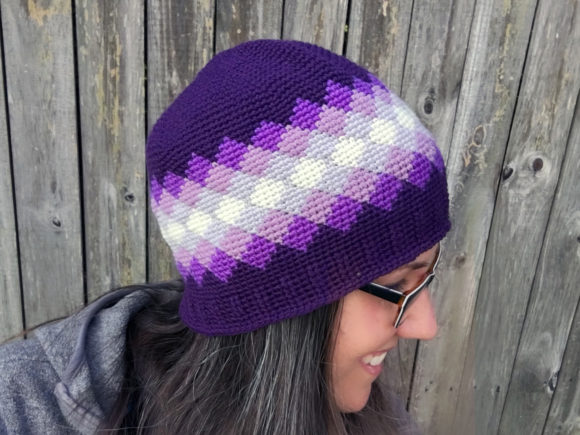 Diamonds Beanie Crochet Pattern Graphic Item