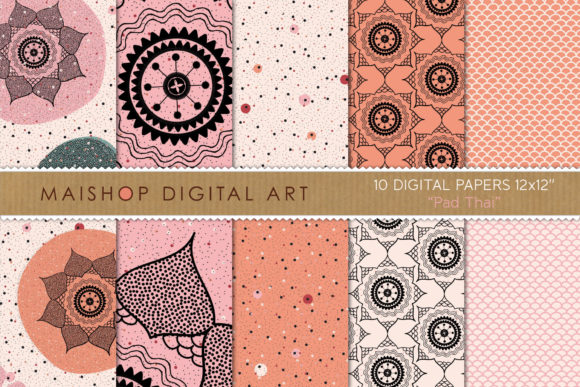 Print on Demand: Digital Paper Pack Pad Thai Set 01 Graphic Patterns By Maishop