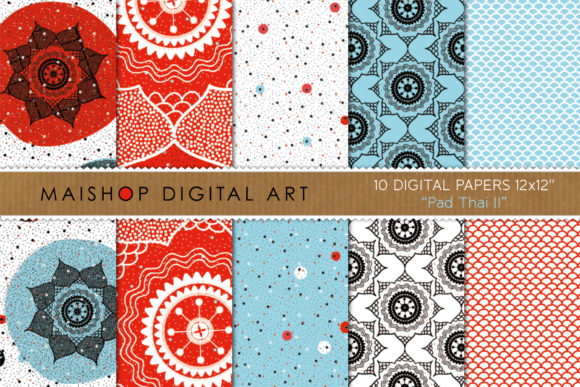 Print on Demand: Digital Paper Pack Pad Thai Set 02 Graphic Patterns By Maishop