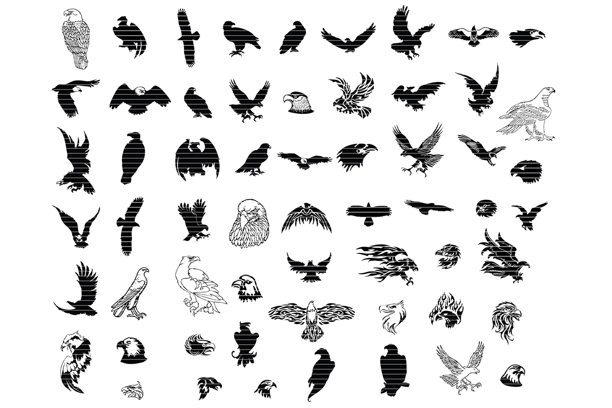 Download Free Eagle Silhouette Clip Art Bundle Graphic By Meshaarts Creative for Cricut Explore, Silhouette and other cutting machines.