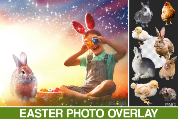 Easter Backdrop Photoshop Overlay Spring Graphic Actions & Presets By 2SUNS
