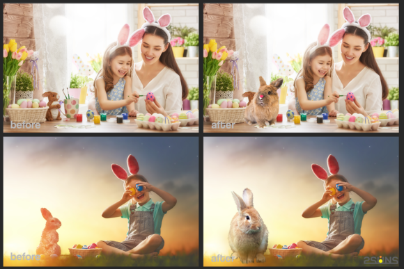Easter Backdrop Photoshop Overlay Spring Graphic Actions & Presets By 2SUNS - Image 2
