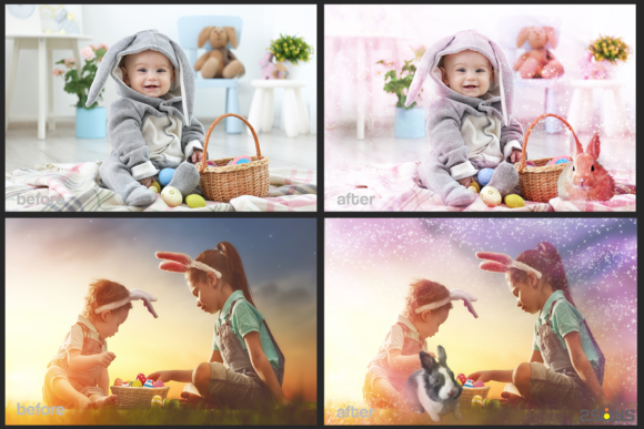 Easter Backdrop Photoshop Overlay Spring Graphic Actions & Presets By 2SUNS - Image 3