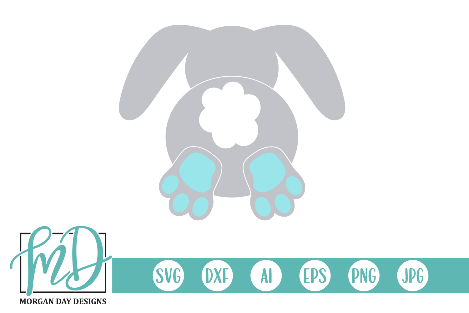 Download Free Easter Bunny Butt With Ears Graphic By Morgan Day Designs for Cricut Explore, Silhouette and other cutting machines.