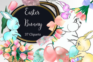 Download Free Easter Bunny Clipart Graphic By Tara Artisan Creative Fabrica for Cricut Explore, Silhouette and other cutting machines.