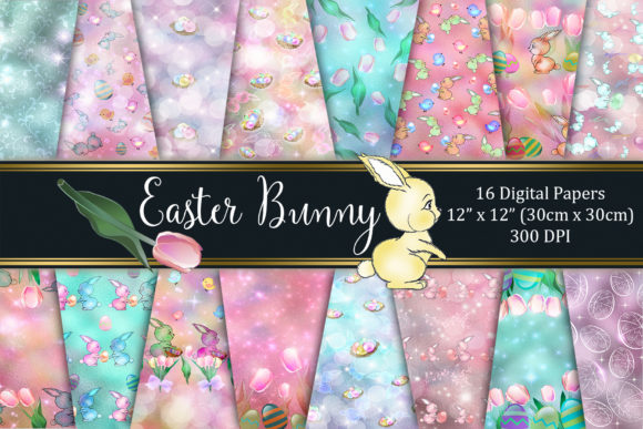 Easter Bunny Digital Paper Graphic Textures By Tara Artisan