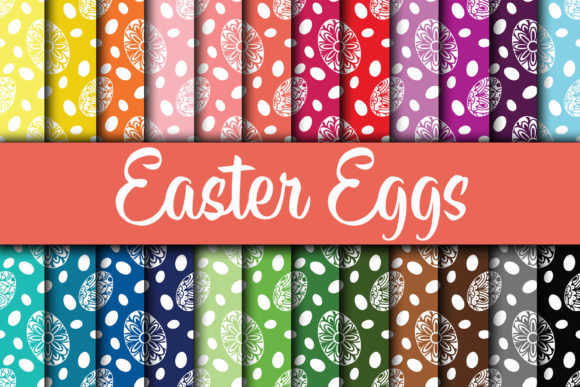 Print on Demand: Easter Eggs Digital Paper Designs Graphic Backgrounds By oldmarketdesigns