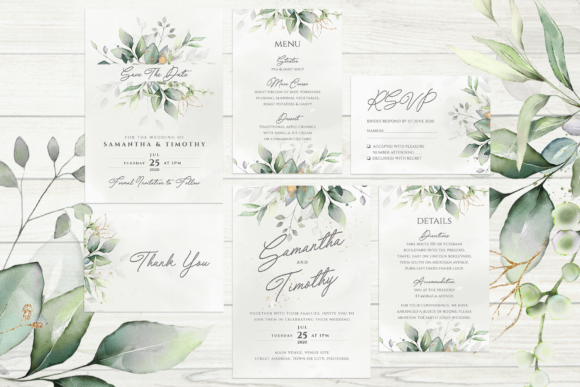 Eucalyptus and Gold Wedding Suite Graphic Print Templates By R Whitehurst Design