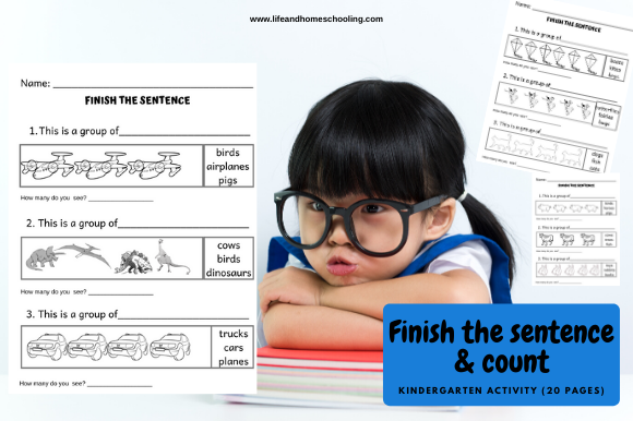 Finish the Sentence & Count Graphic PreK By lifeandhomeschooling