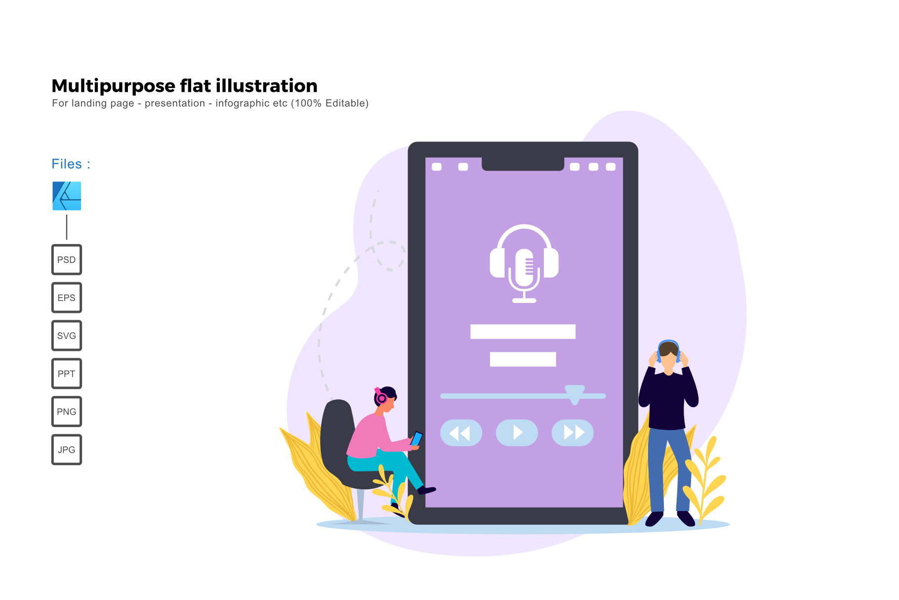 Download Free Flat Illustration Podcast Graphic By Rivatxfz Creative Fabrica for Cricut Explore, Silhouette and other cutting machines.