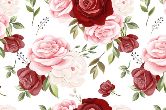 Floral and Leaves Seamless Pattern Graphic Patterns By dinomikael01