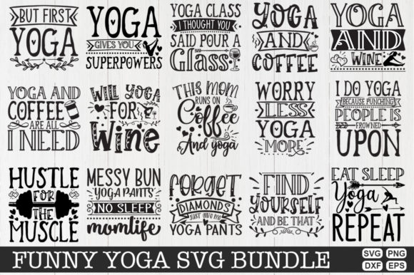 Download Free Funny Yoga Bundle Grafik Von Svgmaker Creative Fabrica for Cricut Explore, Silhouette and other cutting machines.