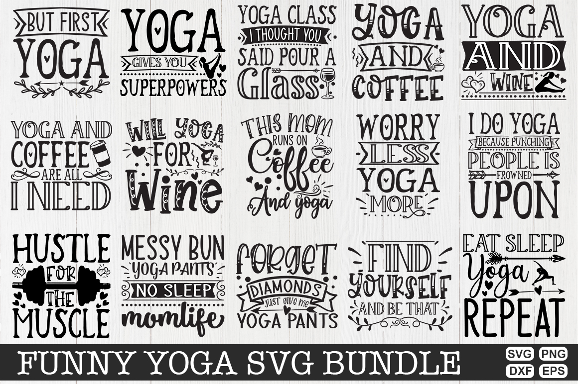 Download Free Funny Yoga Bundle Graphic By Svgmaker Creative Fabrica for Cricut Explore, Silhouette and other cutting machines.