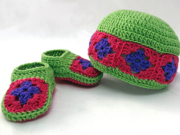 Granny Square Baby Booties and Beanie Graphic