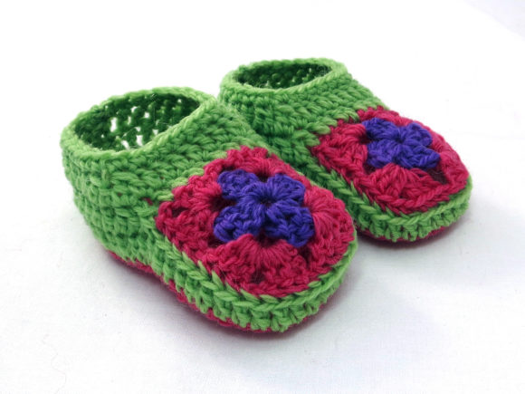 Granny Square Baby Booties and Beanie Graphic Download