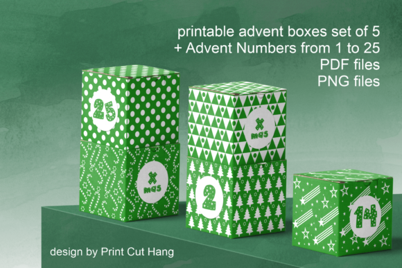 Print on Demand: Green Advent Cube Boxes  Graphic Print Templates By print.cut.hang