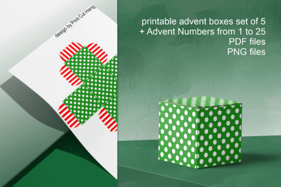 Green Advent Cube Boxes Graphic By Print Cut Hang Creative Fabrica