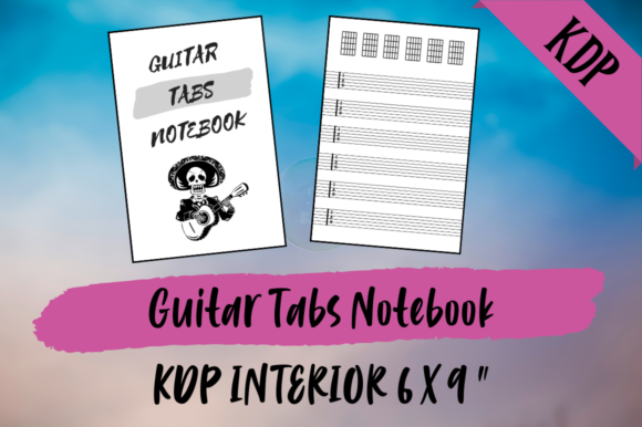 Print on Demand: Guitar Tabs Notebook   KDP Interior Graphic KDP Interiors By Hungry Puppy Studio