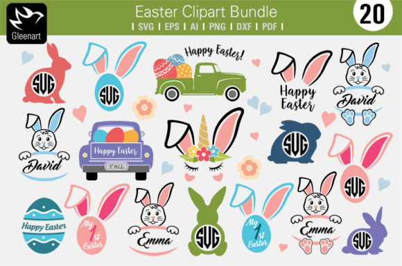 Happy Easter Truck - Graphics Set Graphic Crafts By Gleenart Graphic Design