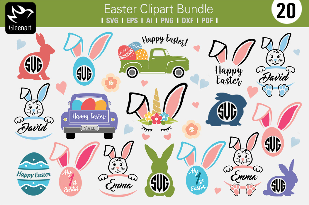 Download Free Happy Easter Truck Graphics Set Graphic By Gleenart Graphic for Cricut Explore, Silhouette and other cutting machines.