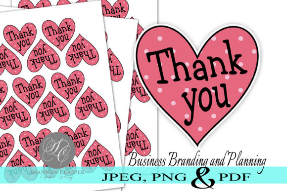 Download Free Heart Thank You Print And Cut Stickers Graphic By Shannon Casper for Cricut Explore, Silhouette and other cutting machines.