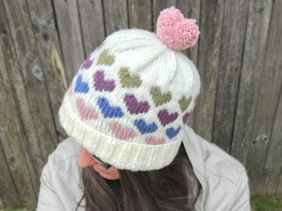 Hearts Around Beanie Knit Pattern Graphic Knitting Patterns By Knit and Crochet Ever After - Image 1