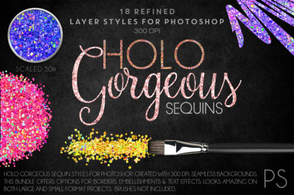 Holo Gorgeous Sequins Graphic Layer Styles By FlyGirlMedia