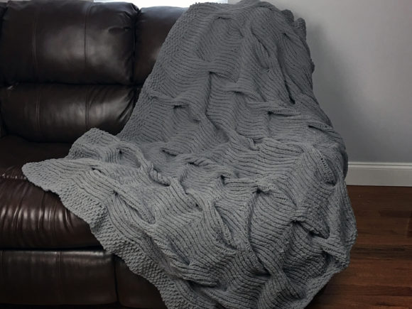 Lazy Cable Blanket Graphic Knitting Patterns By Knit and Crochet Ever After