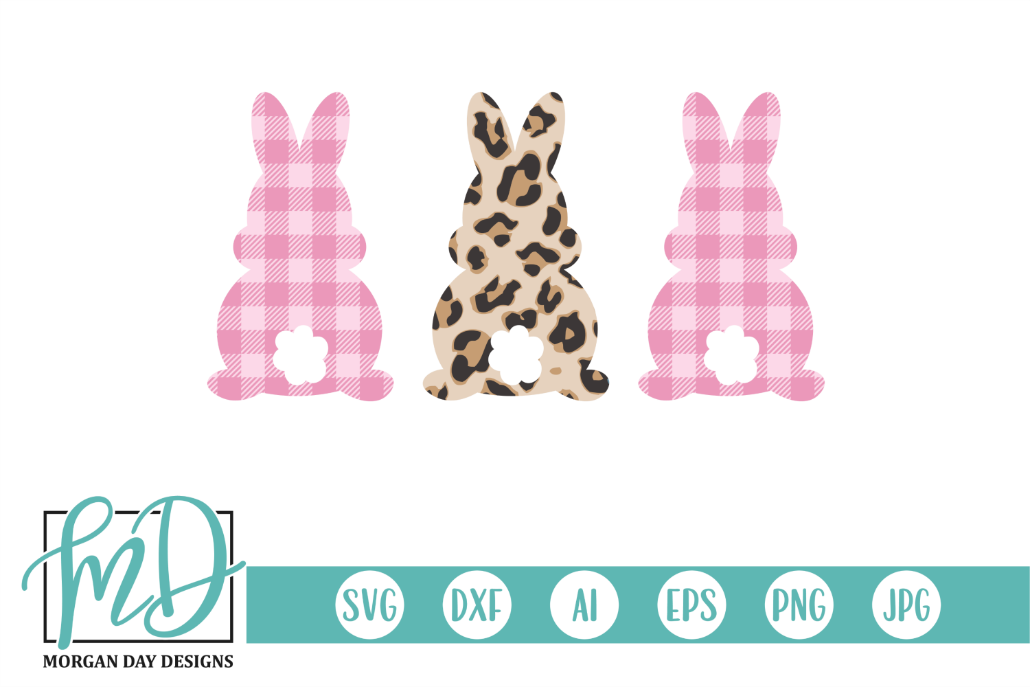 Download Free Leopard Buffalo Plaid Easter Bunnies Graphic By Morgan Day for Cricut Explore, Silhouette and other cutting machines.