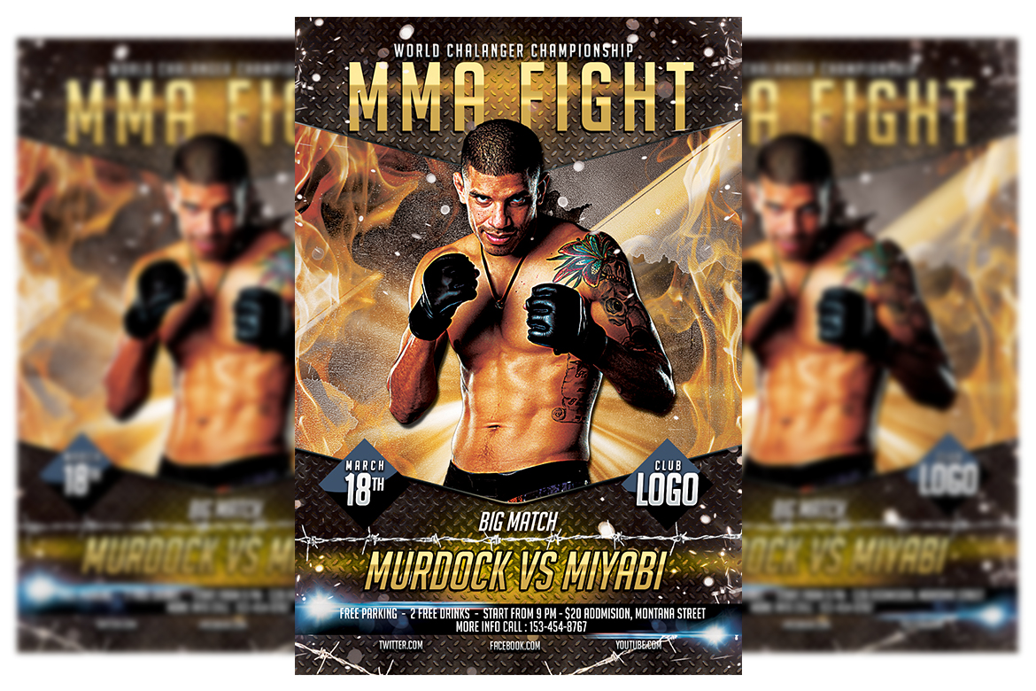 Download Free Mma Fighting Flyer Template 4 Grafico Por Matthew Design for Cricut Explore, Silhouette and other cutting machines.